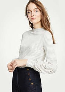 Ann Taylor Stripe Lantern Sleeve Mock Neck Top