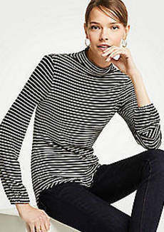 Ann Taylor Stripe Mock Neck Balloon Sleeve Top