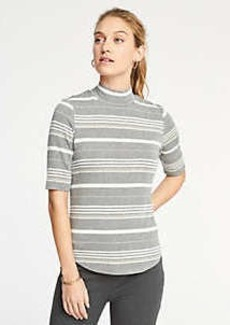 Ann Taylor Stripe Mock Neck Tee
