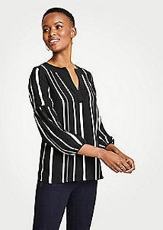 Ann Taylor Stripe Piped Split Neck Top