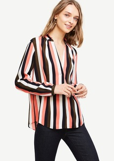 Stripe Pleated Collar Blouse