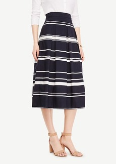 Ann Taylor Stripe Pleated Midi Skirt