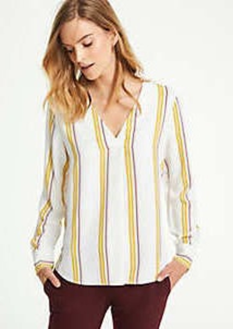 Ann Taylor Mixed Media Pleat Front Top in Stripe