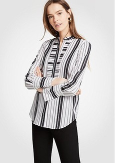 Stripe Pleated Ruffle Perfect Shirt