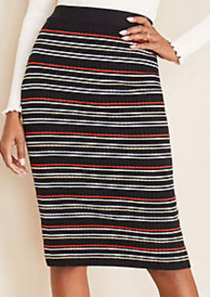Ann Taylor Stripe Ribbed Sweater Pencil Skirt