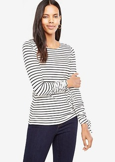 Stripe Ruched Tie Sleeve Top