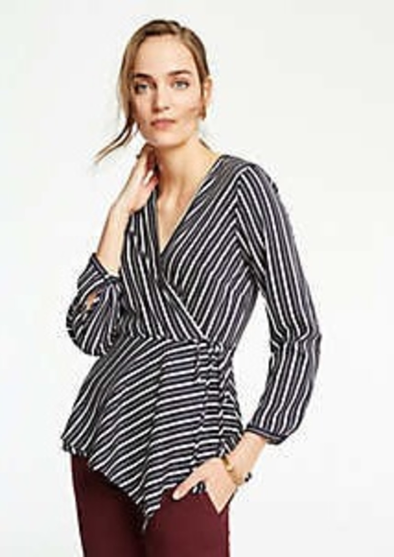 Ann Taylor Stripe Scarf Wrap Top