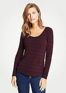 Ann Taylor Stripe Scoop Neck Long Sleeve Tee