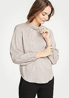 Ann Taylor Stripe Shirred Mock Neck Blouse