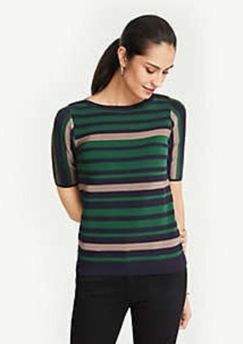 Ann Taylor Stripe Short Sleeve Sweater