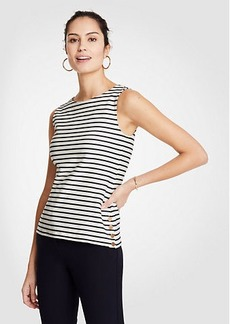 Ann Taylor Stripe Side Button Tank