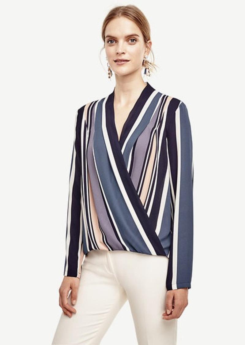 Ann Taylor Stripe Silky Wrap Blouse