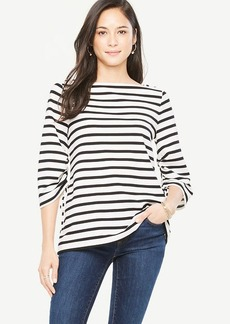 Stripe Square Neck Ruched Sleeve Top
