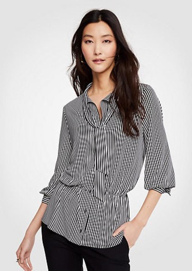 Ann Taylor Stripe Tie Neck Blouse Dress Shirts