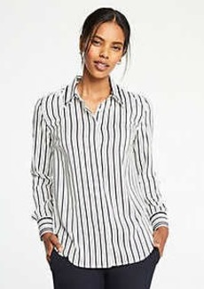 Ann Taylor Stripe Tipped Button Down Blouse