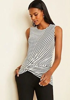 Ann Taylor Stripe Twist Waist Shell