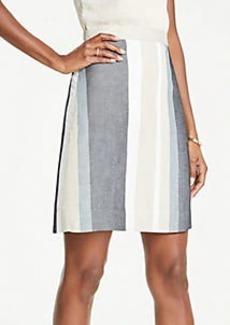 Ann Taylor Striped A-Line Skirt