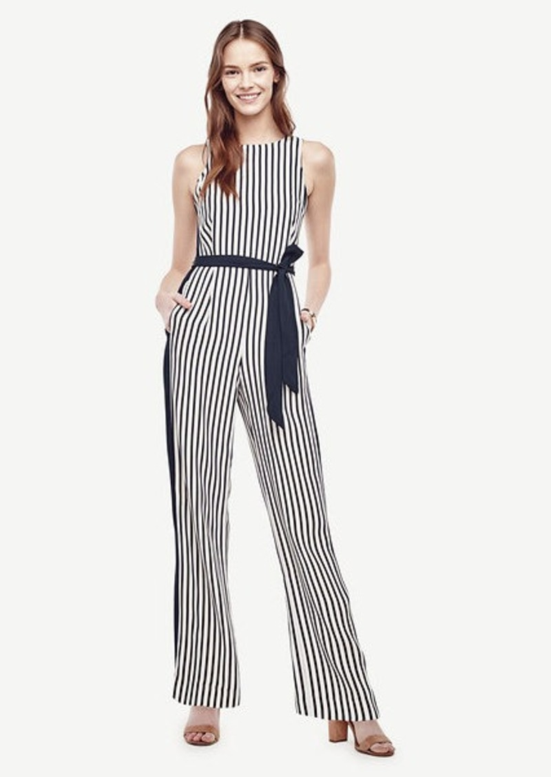 Ann Taylor Striped Belted Jumpsuit