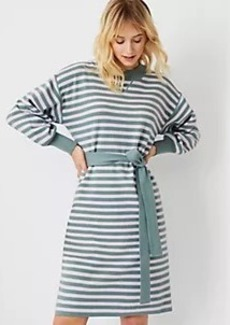 Ann Taylor Striped Belted Sweater Dress