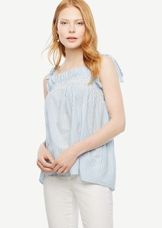 Striped Bow Shoulder Poplin Top
