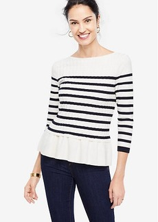 Ann Taylor Striped Cable Peplum Sweater