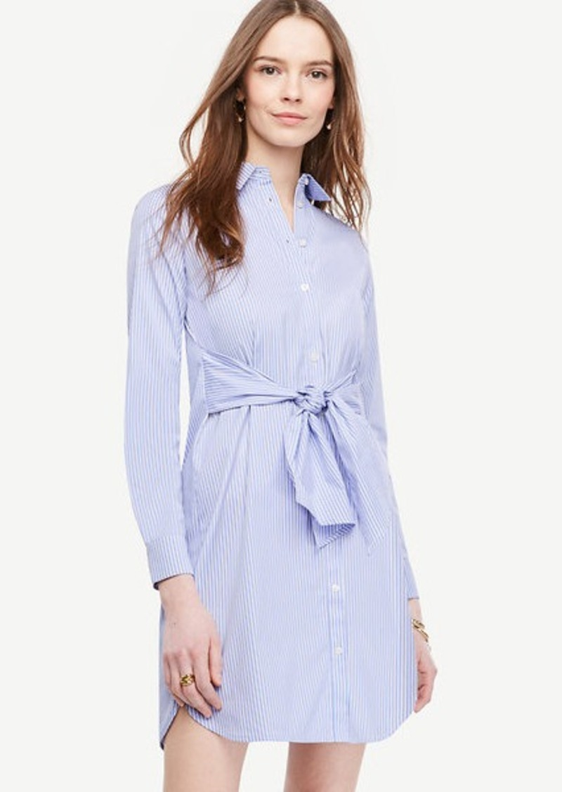 Ann Taylor Striped Cinch-Waist Poplin Shirt Dress