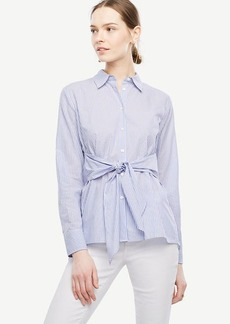 Striped Cinch-Waist Poplin Top