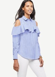 Striped Cold Shoulder Flounce Shirt