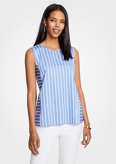 Ann Taylor Striped Cutout Shell