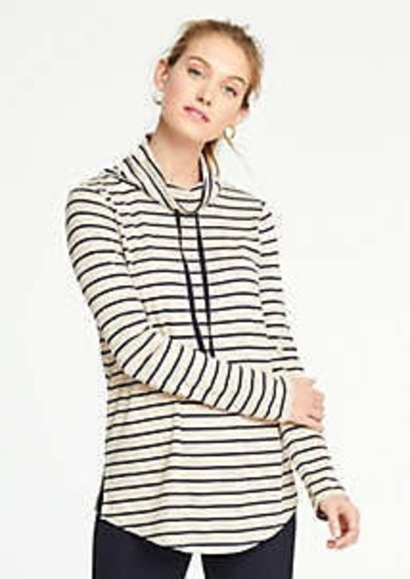 Ann Taylor Striped Drawstring Neck Sweatshirt