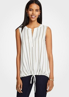 Ann Taylor Striped Drawstring Waist Top