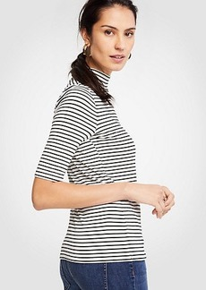 Striped Elbow Sleeve Mock Neck Top