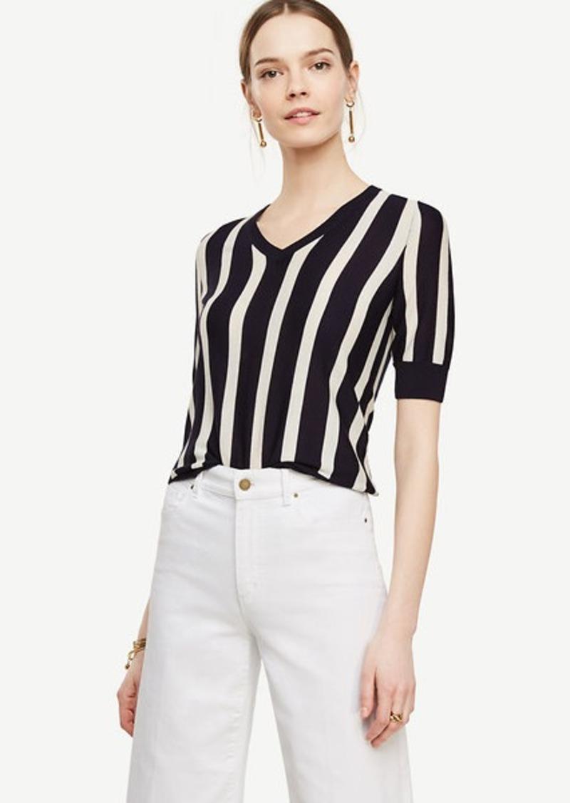 Ann Taylor Striped Extrafine Merino Wool Short Sleeve V-Neck ...