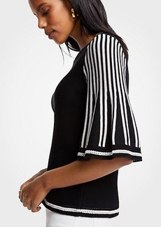 Ann Taylor Striped Flare Sleeve Sweater