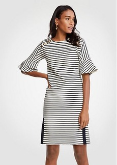 Striped Fluted Sleeve Shift Dress