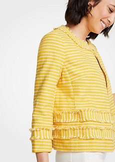 Ann Taylor Striped Fringe Jacket