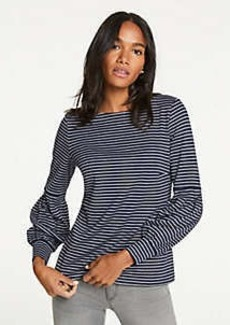 Ann Taylor Striped Lantern Sleeve Top