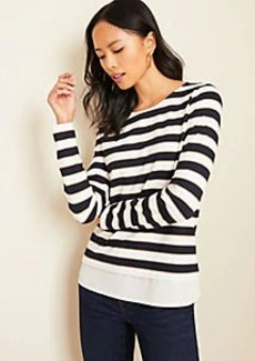 Ann Taylor Striped Layered Mixed Media Top