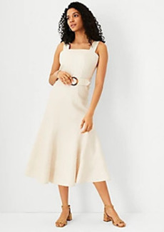 Ann Taylor Striped Linen Blend Belted Midi Dress