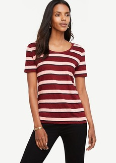 Striped Linen Scoop Neck Tee