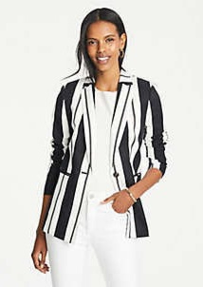 Ann Taylor Striped Long Blazer
