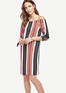 Ann Taylor Striped Off The Shoulder Dress