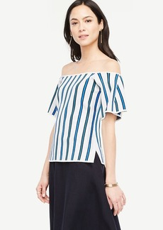Ann Taylor Striped Off The Shoulder Sweater