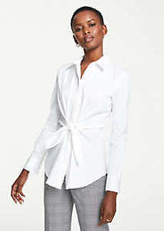 Ann Taylor Tie Waist Perfect Shirt