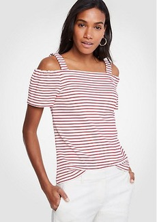 Ann Taylor Striped Ponte Cold Shoulder Top