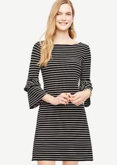Striped Ponte Flare Sleeve Dress