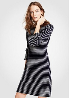Ann Taylor Striped Ponte Flare Sleeve Dress
