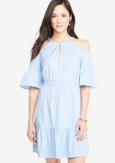 Striped Poplin Cold Shoulder Dress