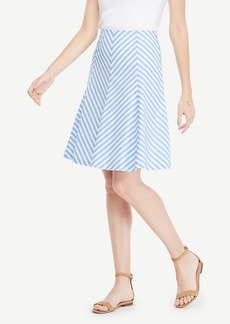 Ann Taylor Striped Poplin Flare Skirt