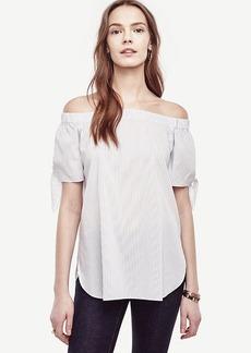 Striped Poplin Off The Shoulder Blouse